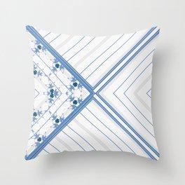 Decorative Multi Pattern Soft Blue Design Throw Pillow