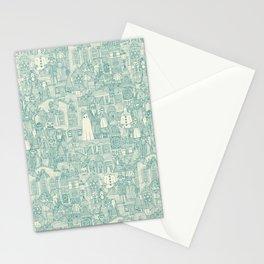 vintage halloween teal ivory Stationery Cards