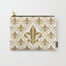 Gold Fleur-de-Lis Pattern Carry-All Pouch
