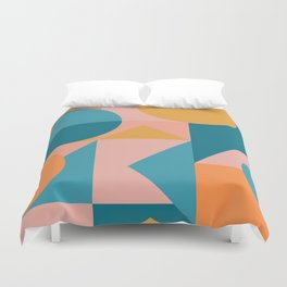 Colorful Geometric Abstraction in Blue and Orange Duvet Cover