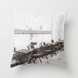 Going for Coffee in Brooklyn Black and White Throw Pillow