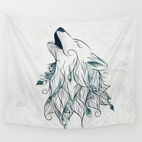 wolf Wall Tapestries featuring Wolf by LouJah