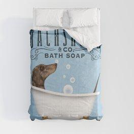 Dapple Dachshund dog bath tub clawfoot wash your wiener art Comforters