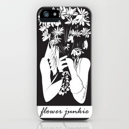 Flower Junkie - Black and White Digital Drawing of Girl holding Flowers iPhone Case
