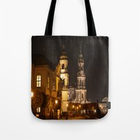 baroque Tote Bags featuring Dresden Baroque  by DuniStudioDesign
