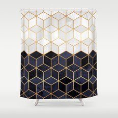 White  Navy Cubes Graphic design and Pattern Shower Curtains Society6