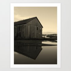 Warehouse Reflection in Yellow Art Print