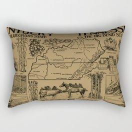 Vintage Illustrative Kentucky and Tennessee Map (1912) - Tan Rectangular Pillow