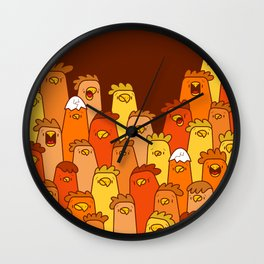 Pile of Clucks Wall Clock