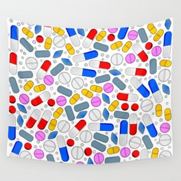Pills Isolated On White Background Wall Tapestry