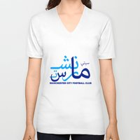 manchester V-neck T-shirts featuring Manchester City by Sport_Designs
