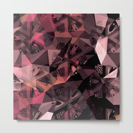 Lavender Red Brown Abstract Geometric Triangle Polygon Seedpod  Illustration Metal Print