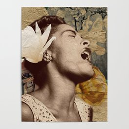Billie Holiday Vintage Mixed Media Art Collage Poster