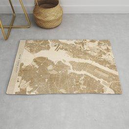Vintage map of New York in sepia Rug