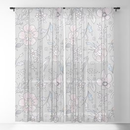"""Floral rustic pattern in pastel colors """"Relax and bloom"""" Sheer Curtain"""
