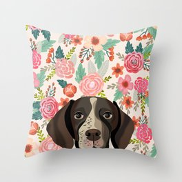 German Shorthair Pointer floral dog portrait cute art gifts for dog breed lovers Throw Pillow