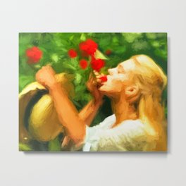 Lady eating wild strawberries Metal Print