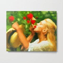 Lady eating wild strawberries Metal Print