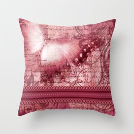 LE PAPILLON | raspberry Throw Pillow