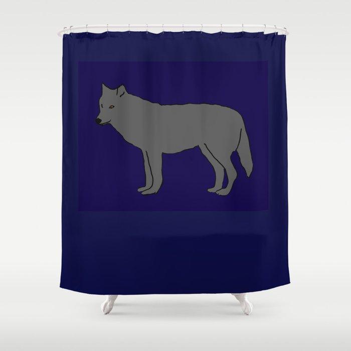 The Furtive Timberwolf Shower Curtain