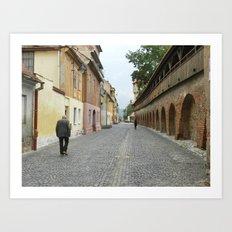 Old Walls, Old Man Walking Art Print