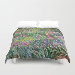 The Iris Garden at Giverny by Claude Monet Duvet Cover