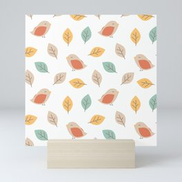 cute lovely autumn fall pattern background with birds and leaves Mini Art Print