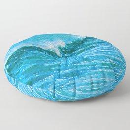 Sea waves watercolor painting #1 Floor Pillow