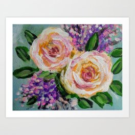 Impressionist Peach Rose Bouquet Art Print
