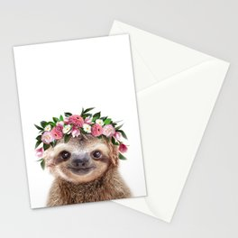 Baby Sloth With Flower Crown, Baby Animals Art Print By Synplus Stationery Cards