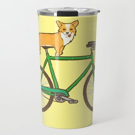 Corgi on a bike Travel Mug