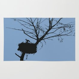 Silhouette Of Stalk Nest and Fledglings Vector Rug