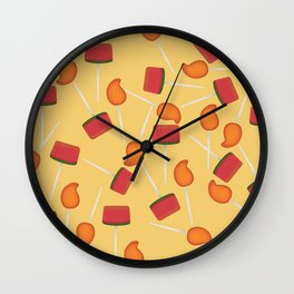 Yellow background Mexican paleta candy pattern Wall Clock