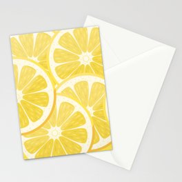 Yellow Watercolor Lemon Slices Pattern Stationery Cards