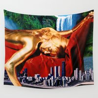 metropolis Wall Tapestries featuring Dream Metropolis by Shanelle Hicks