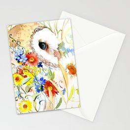 barn owl and flowers floral owl decor artwork Stationery Cards