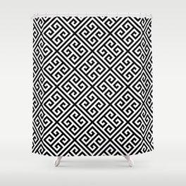 black and white pattern , Greek Key pattern -  Greek fret design Shower Curtain