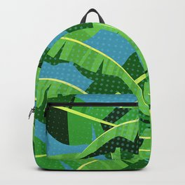 Tropical Polka Dot Jungle Banana Leaves Backpack