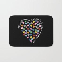 Hearts Heart Teacher Black Bath Mat