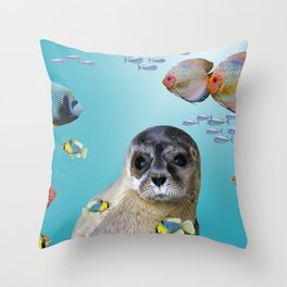 Tropic Fishes with seal - sea lion Throw Pillow