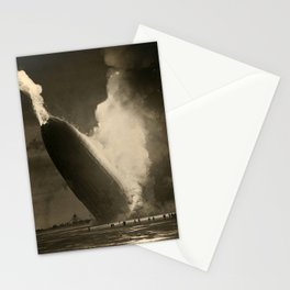 The Hindenburg hits the ground in flames in Lakehurst, N.J. Stationery Cards