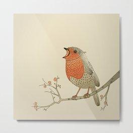 Songbird Robin vintage color palette Metal Print