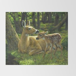 Whitetail Deer and Cute Spring Fawn Throw Blanket