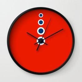 Retro Circles Pop Art - Red White Blue Series Wall Clock