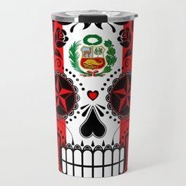 Sugar Skull with Roses and Flag of Peru Travel Mug