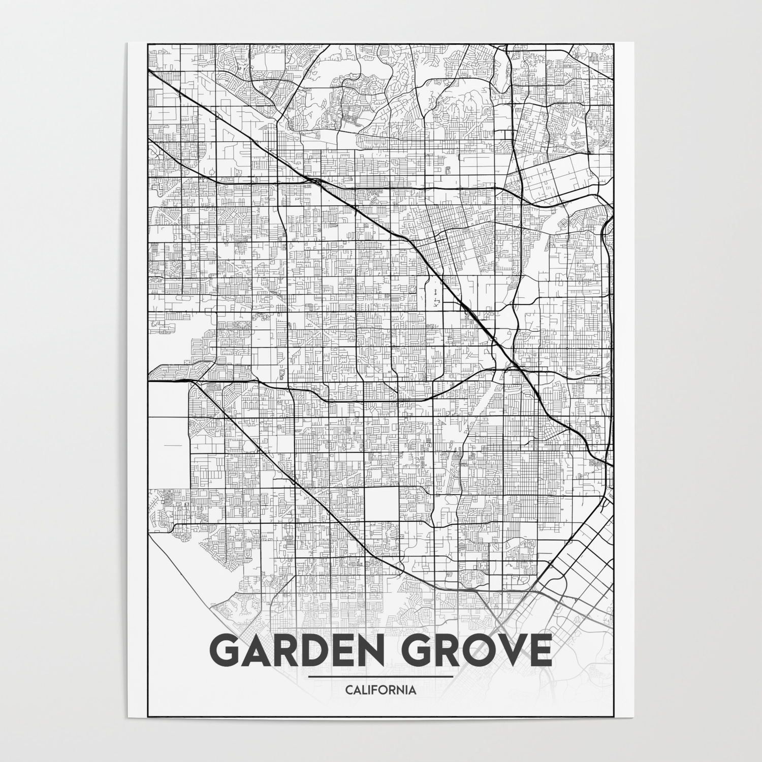 Minimal City Maps - Map Of Garden Grove, California, United States Poster  by valsymot