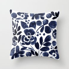 Navy Floral Throw Pillow