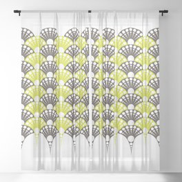 brown and lime art deco inspired fan pattern Sheer Curtain