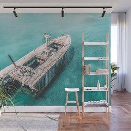 Shipwreck Print, Ship On The Ocean, Ocean Art, Ocean Print, Abstract Ocean, Aerial Photography, Photography Print, Art Home Decor Print Wall Mural