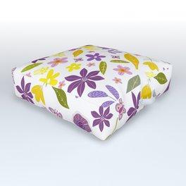 Ziti, Purple and Yellow Chintz Pattern, Floral Design. Outdoor Floor Cushion